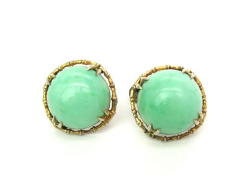Art Deco Jade Earrings. Chinese Export Green Jade Cabochons. Silver Gilt Screw Back. Bamboo Setting. Vintage 1920s Art Deco Gemstone Jewelry