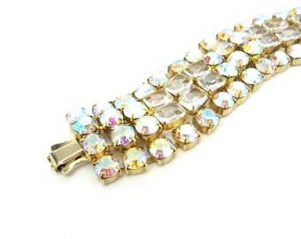 Aurora Borealis Bracelet. Wide AB Rhinestone Link Glamour Jewelry. Octagonal Cut Crystals. Hollywood Regency Vintage 1950s Statement Jewelry