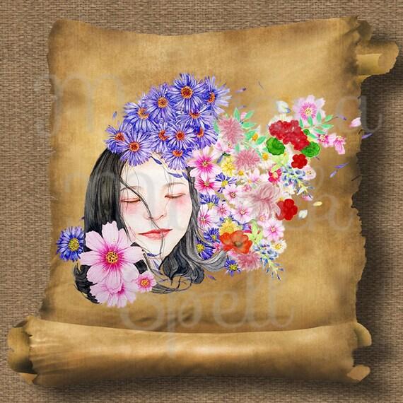 Flower Goddess Blodeuwedd Royalty Free Clip Art