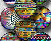Native American Rainbow Motifs - Digital Collage Sheets - 20mm, 18mm, 16mm, 14mm, 12mm Jewelry supplies for Pendants, Bottle Caps - CG-991