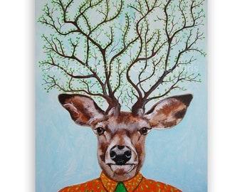 """Deer Painting, Antlers Painting, Tree Painting BIG SIZE 24x31x2"""", handpainted, by painter Coco de Paris; Tree Deer"""