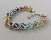 Swarovski Chainmail Bracelet, Rainbow Bracelet, Chainmaille, Captured Chain Mail Bracelet, Gay Pride Bracelet, LGBT