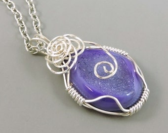 Wire Wrapped Purple Agate Druzy Necklace, Agate Necklace, Gemstone Necklace, Purple Jewelry, Druse, Druze