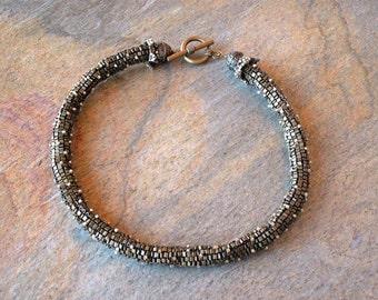Necklace, Beaded Bronze Peyote Stitch