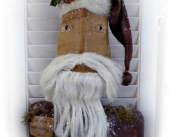 Primitive Santa Centerpiece | Santa Doll | Christmas decor | Folk Art Santa | Farmhouse decor | Santa Claus | Holiday Decoration