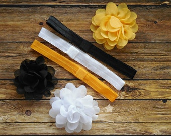 Black and gold, Hair flower, interchangeable elastic headband, hair clip, black and yellow, infant headband, newborn headband, baby girl