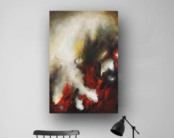 Abstract Painting on Canvas, Vivid Brush Stroke, Red & Green Painting, Atmospheric Painting, Original Painting, Fine Art, Heather Day 36x24