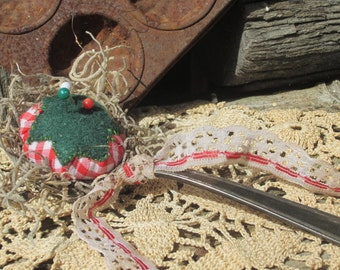 TOMATO PIN CUSHION Pin Keep Pin Poke Up cycled Farm Nest Vintage Silver Teaspoon Red Gingham