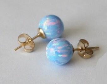 8mm Ice blue opal ball stud earrings, Gold opal earrings, 14K Gold filled opal earrings, Blue opal studs, Birthstone, Light blue earrings