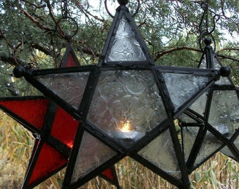 """STAR CANDLE HOLDER & 2 Tea Light Candles Hanging Pendant Lantern Red 11"""" Romance Gift Holiday Wicca Cottage Chic Decor Moroccan Indian"""