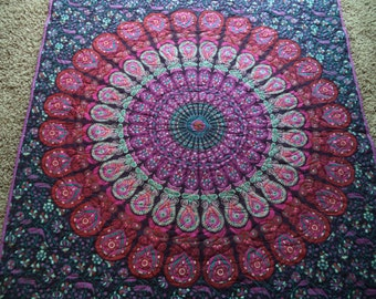 """Pink and purple mandala peacock tapestry quilt/ Handmade tapestry quilt/ boho chic bohemian gypsy twin blanket size 52 1/2"""" x 80 3/4"""""""