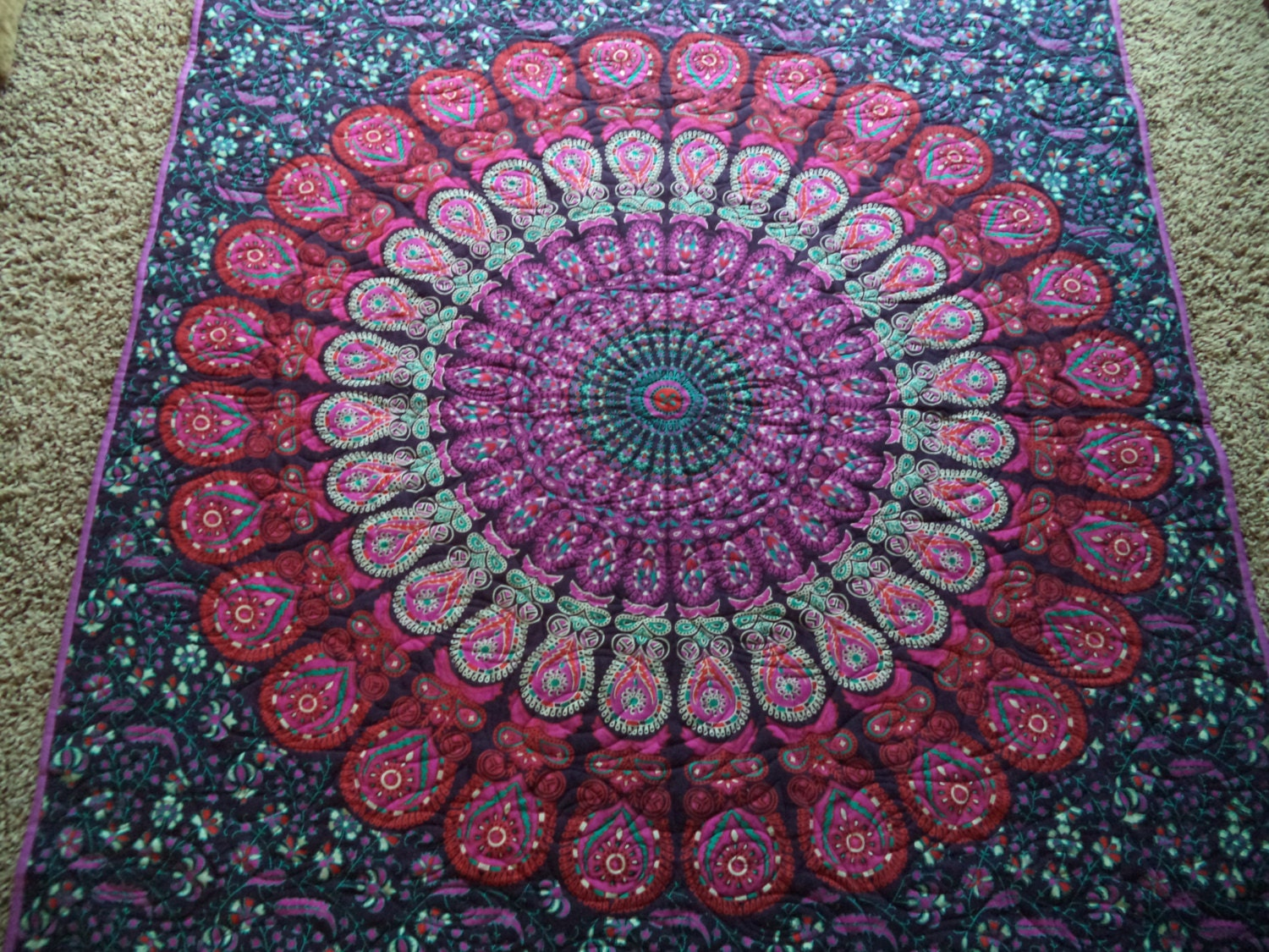 Pink And Purple Mandala Peacock Tapestry Quilt Handmade