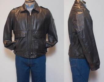 42 Tall | Brown Aviator Style Jacket by Sears The Leather Shop