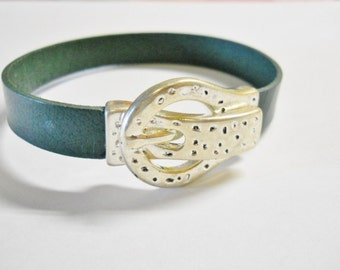 Flat Leather Bracelet, Belt Buckle Silver Plated Magnetic Clasp,  Dark Green Leather, Father's Day, Unisex,