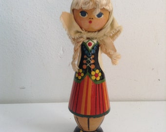 Vintage Swedish Wood Doll Toy Figure. 1960's Vintage Modernist. Mod, Mid century, Danish Modern, Eames, era.