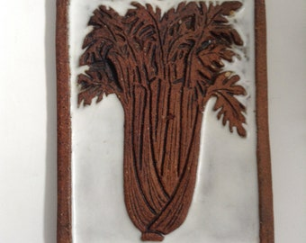 Victoria Littlejohn Art Tile Trivet. Vintage Modernist. Mod, Mid century, California Pottery.  Celery