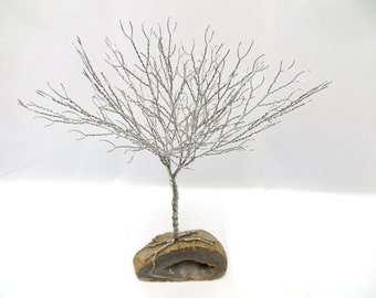 Silver Tree of Life Geode, Wire Wrapped Tree Sculpture, Wire Tree Centerpiece, Geode Tree of Life Home Decor