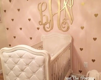 Gold Decals - Gold Heart Wall Decals - Confetti Heart Decals - Pattern Decal - Heart Vinyl Decal - Wall Decor - Heart Wall Art - Baby Decal