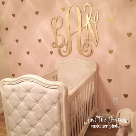 Gold Decals Gold Heart Wall Decals Confetti Heart Decals