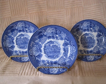 Early Enoch Woods English Scenery Cobalt Dessert Plates