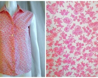Vintage Summer Blouse 1960's Pink Floral Sleeveless Blouse 38 Bust