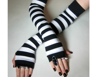 Striped Fingerless gloves Armwarmers Arm Warmer black and white stripes belly dance steampunk emo cotton glove sleeves stripe gypsy bohemian