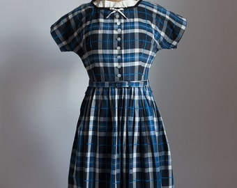 1940s plaid cotton dress summer frock
