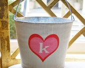 20% OFF! Monogrammed Heart Valentine's Day Burlap Bucket