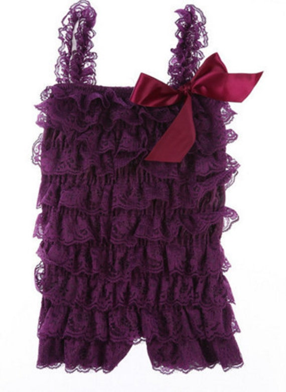 Baby Lace Romper/Plum Lace Romper/Ruffle Romper/Petti Lace Romper/Newborn Take Home Outfit/Coming Home Outfit,FAST SHIP,Ready to Ship