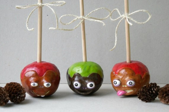 Candy apple home decor caramel apple decor polymer clay for Apple home decoration