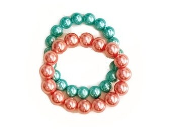 Plus Size Bracelet Stack, Plus Size Jewelry, Pink Aqua Bracelets, Plus Size Stretch Bracelets