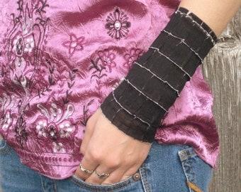 Black Wrist Cuff, Gothic Wrist Cuff, Wide Wrist Cuff, Tattoo Cover up, Black Wrist Warmer