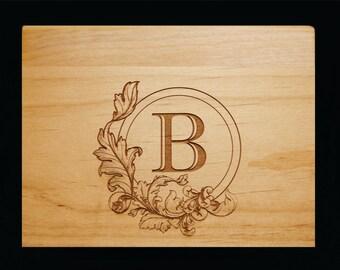 Monogram, Recipe Box, Custom, Personalized, Wood Recipe Box, Engraved Recipe Box, Family