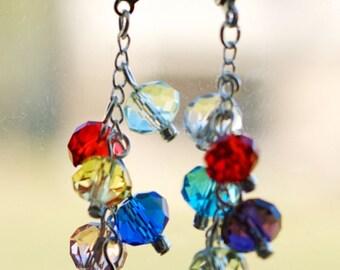 Rainbow Crystal Beaded Sterling Silver Earrings