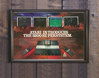 Atari 5200 SuperSystem | Retro Joystick Console | Video Game Console Ad | Retro Gamer Gift | 1982 Arcade Games for Home | Geeky Techie Decor