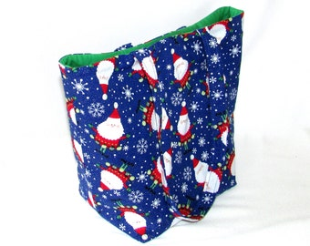 Tote Bag, Santa Claus Tote Bag, Cloth Purse, Christmas Purse, Handmade Handbag, Snowflake, Fabric Bag, Shoulder Bag, Blue, Holiday Purse