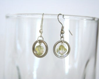 Mechanical Dangle earrings Chartruese Pear Green earrings - made from small mechanical cogs and beads