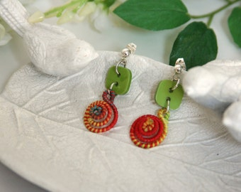 Rainbow Drop Earrings Swirl Bright Colors - made from buttons and rainbow swirls