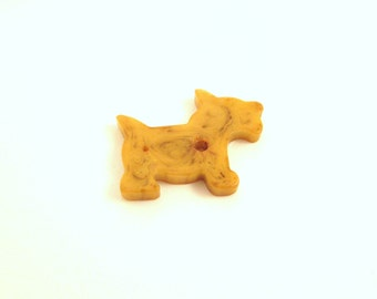 Butterscotch Bakelite Scottie Dog Jewlery Finding - Jewelry Making - Early Plastic Charm
