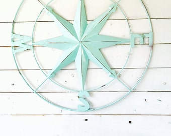 "20"" or 40"" Compass, Nautical Decor,Compass Wall Art, Metal Wall Art, Country Red Wall Decor,Red Metal Wall Decor, Metal Wall Decor, Nautical"