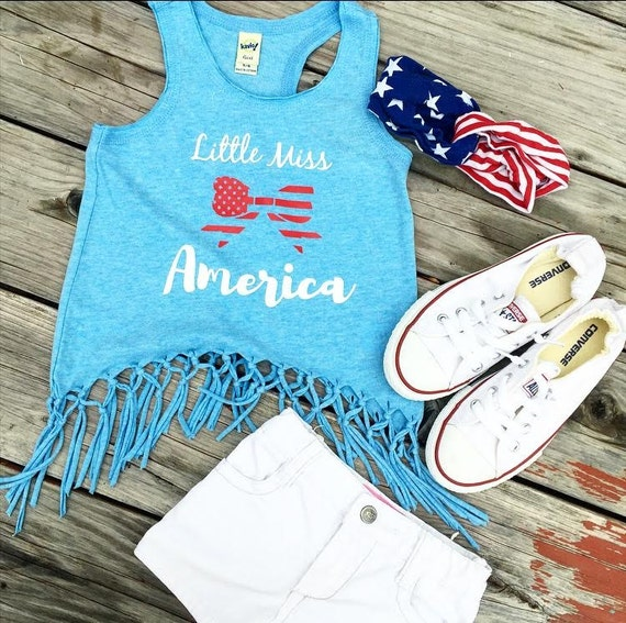 LITTLE MISS AMERICA Fringe Tank or Dress, Tank, or Tee - baby, toddler, child, girl, fashion, bohemian trendy, woman adult 4th of july