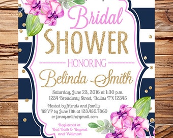 Orchid Bridal Shower Invitation, navy stripes, gold, glitter confetti, orchid wedding, purple flowers bridal shower invitation, 5345