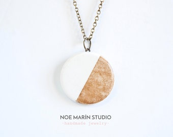 Modern ceramic pendant jewelry, Natural jewellery, Delicate minimalist necklace jewellery, Handmade bohemian jewelry, Charm necklaces