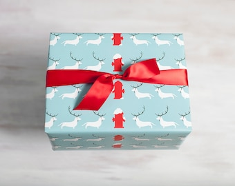 Blue Recycled Gift Wrap, Dog Wrapping Paper, Eco-Friendly Christmas Hanukkah Winter Packaging, Chilly Dogs, Made in the USA