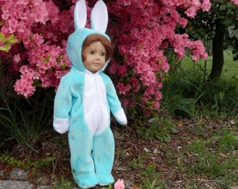 "Blue Bunny Rabbit Costume for 18"" Dolls Handmade Soft Fleece Easter Bunny Outfit Aqua Turquoise Blue"