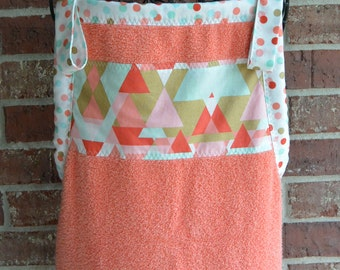 Baby Bath Apron Towel, Coral, With or Without Monogram