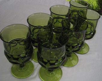 Set of 7 King's Crown/Thumbprint Vintage 60's Green Glass Goblets