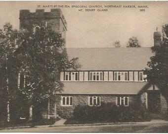 St. Marys By The Sea Episcopal Church, Northeast Harbor Maine, Mt. Desert Island Vintage Black White Postcard