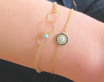 Evil Eye Bracelet with CZ Accents - Evil Eye Jewelry - Evil Eye