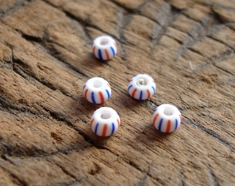 5 x tiny very small  round bugle stripey African beads